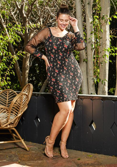 Asoph Plus Size Floral Design Mesh Contrast Shirred Dress