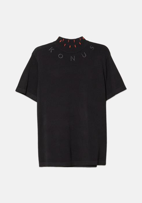 Konus Fully Fashioned Short Sleeve Mock Neck with Red Stitching