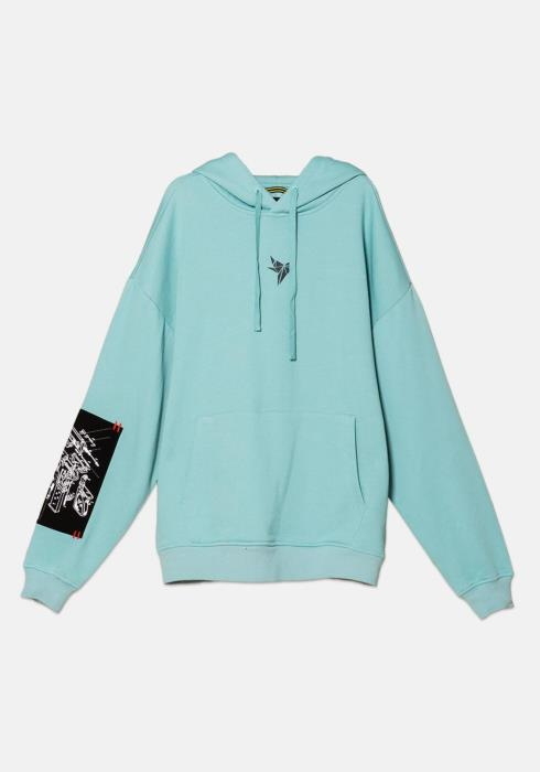 Konus French Terry Pull Over Hoodie with Logo Print and Printed Twill patch