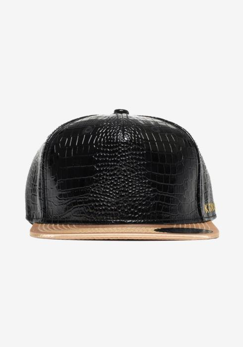Alligator Skin Snap Back with Logo Embroidery