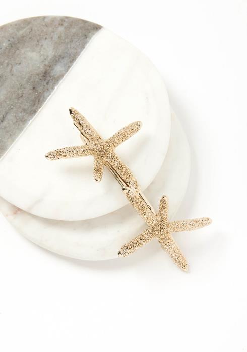 Pacifica Double Sea Star Golden Hair Clip