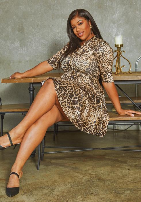 Asoph Plus Size PU Leopard Print Open Collar Mini Dress