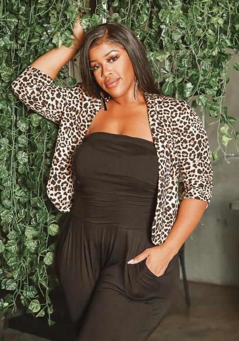 Asoph Plus Size Wild Leopard Open Front Blazer