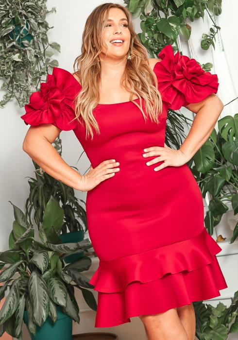 Asoph Plus Size Blooming Flower Red Party Dress
