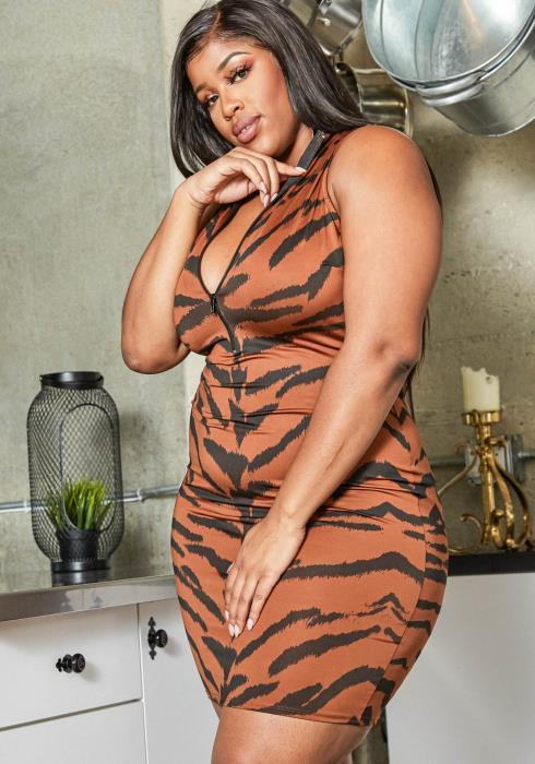Asoph Plus Size Brown Tiger Print Mock Neck Bodycon Dress
