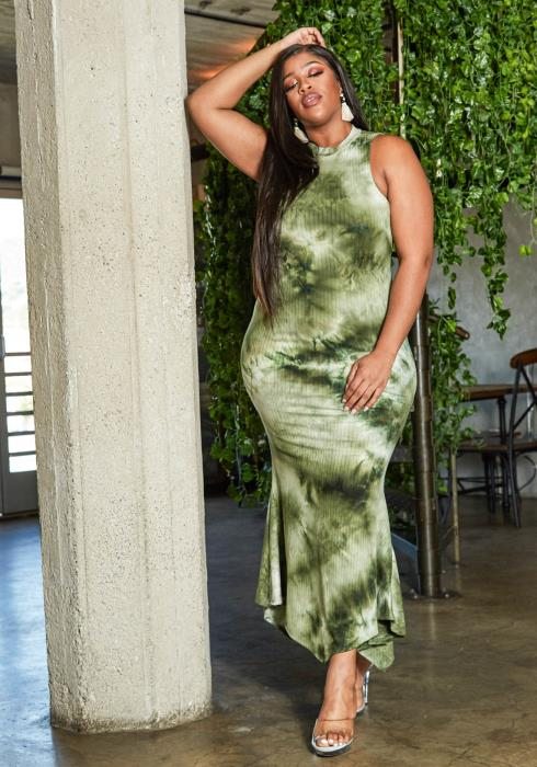 Asoph Plus Size Tie Dye Halter Neck Maxi Dress