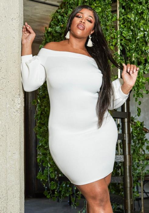Asoph Plus Size Off Shoulder Party Bodycon Dress