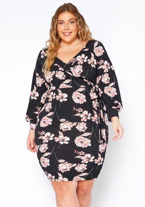 Asoph Plus Size Blush Flower Wrap Dress