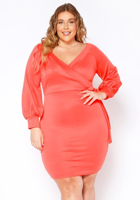 Asoph Plus Size Neon Wrap Party Dress