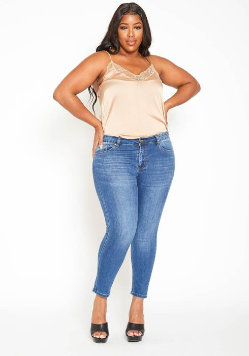 Asoph Plus Size Medium Washed Blue Denim Low Rise Skinny Jeans