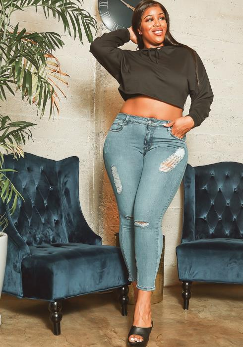Asoph Plus Size Light Blue Distressed Mid Rise Skinny Jeans