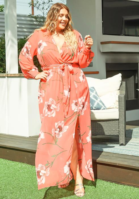 Asoph Plus Size Pink Rose Print Chiffon Maxi Dress