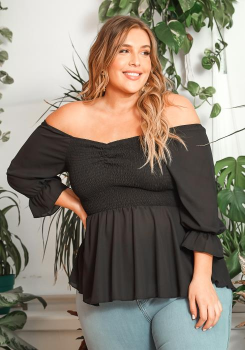 Asoph Plus Size Smocked Off Shoulder Peplum Blouse
