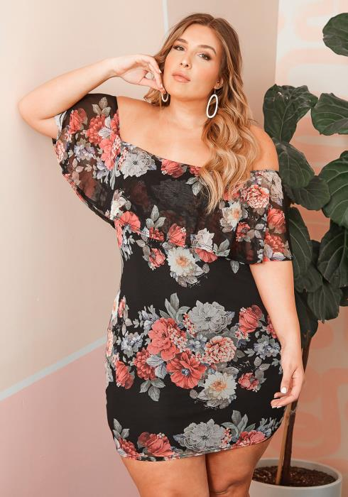 Asoph Plus Size Floral Mesh Off Shoulder Mini Dress