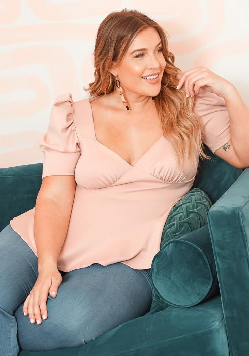 Asoph Plus Size Mauve Drama Shoulder Peplum Flare Top