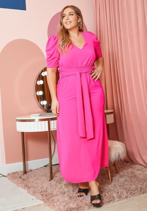 Asoph Plus Size Neon Pink Ruched Shoulder Maxi Dress