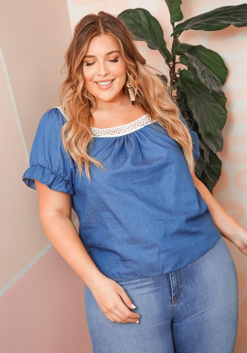 Asoph Plus Size Embroider Trimmed Denim Casual Top