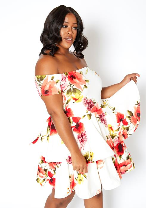 Asoph Plus Size Floral Bloom Off Shoulder Tier Mini Dress