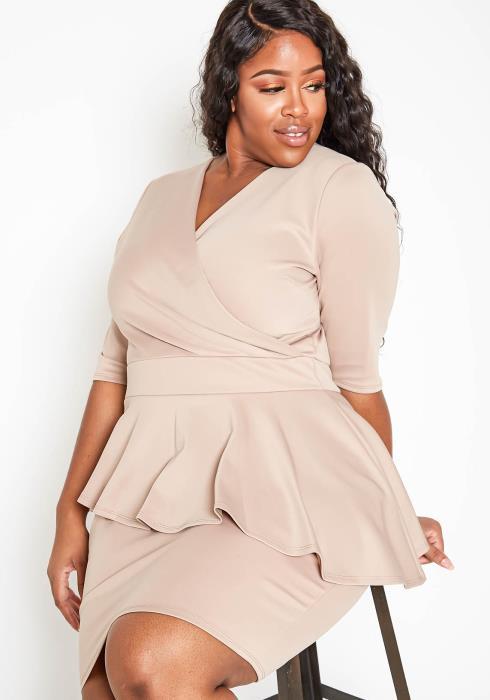 Asoph Plus Size Asymmetric Peplum Womens Party Dress