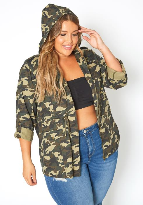 Asoph Plus Size Camo Print Utility Hooded Jacket