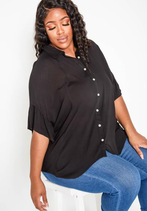 Asoph Plus Size Ruffle Hem Angel Sleeve Collar Top