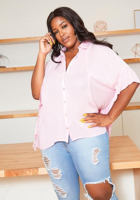 Asoph Plus Size Ruffle Hem Angel Sleeve Collar Top