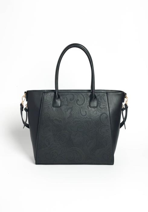 Black Beauty Floral Designed Faux Leather Hand Bag