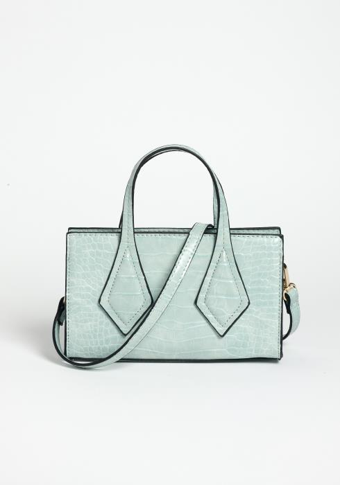 Mint For You Crocodile Textured Mini Crossbody Purse