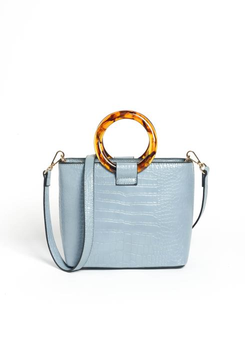 Celeb Status Cool Blue Crocodile Crossbody Purse