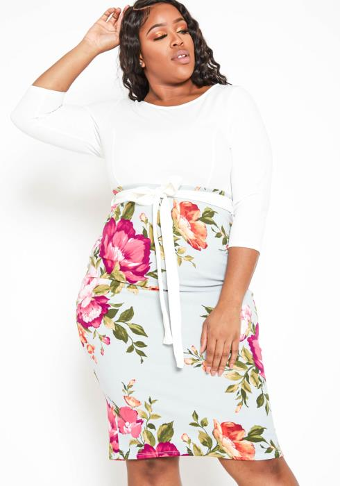 Asoph Plus Size Fresh Roses Pattern Splice Bodycon Midi Dress