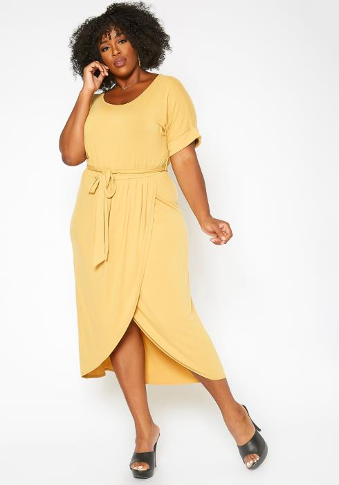 Asoph Plus Size Basic Draped T Shirt Midi Dress