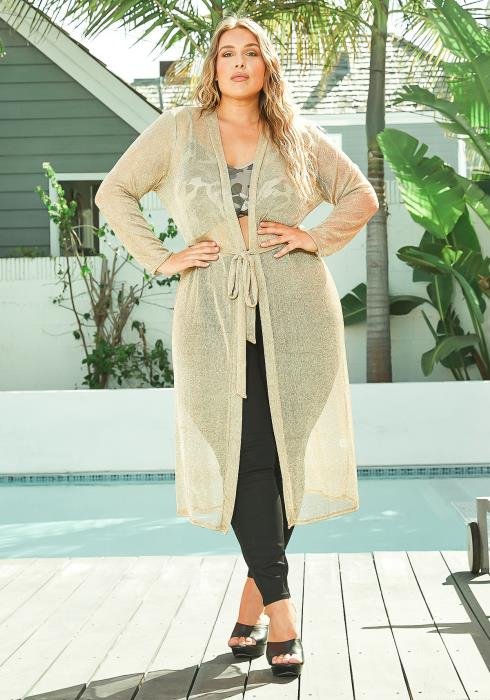 Asoph Plus Size Golden Metallic Fishnet Longline Cardigan