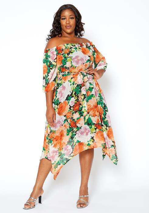 Asoph Plus Size Summer Bloom Off Shoulder Asymmetric Midi Dress
