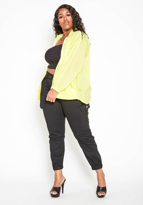 Asoph Plus Size Neon Yellow High Neck Windbreaker Jacket
