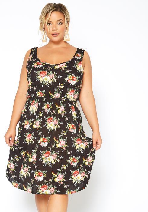 Asoph Plus Size Floral Bouquet Fit & Flare Tank Midi Dress