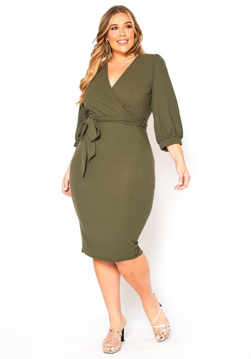 Asoph Plus Size Elegant Occasion V Neck Midi Dress