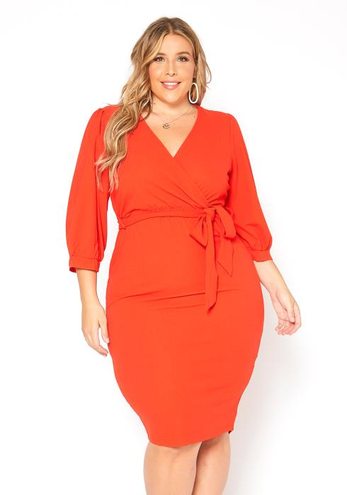 Asoph Plus Size Elegant Special Occasion V Neck Midi Dress