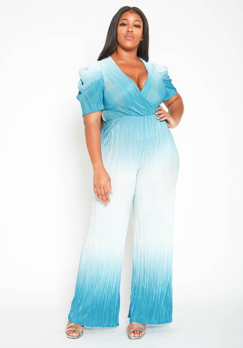 Asoph Plus Size Blue Ombre Straight Leg Jumpsuit
