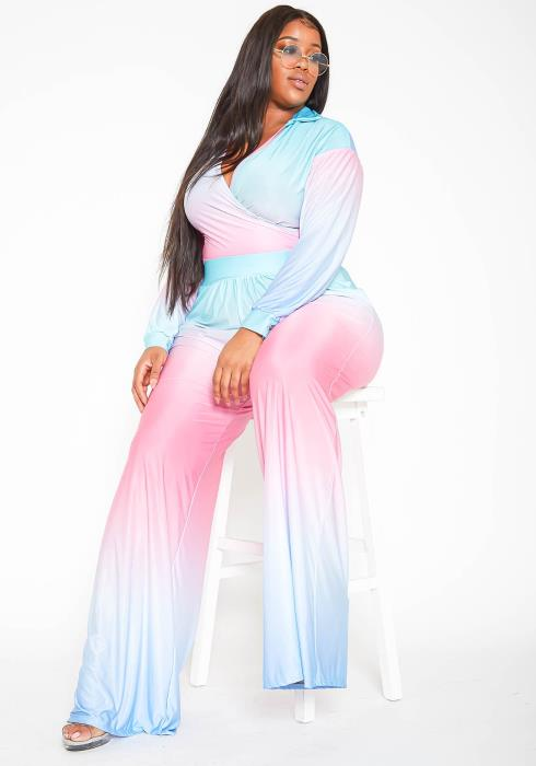 Asoph Plus Size Pastel Gradient Open Collar Top & High Rise Straight Pants Set