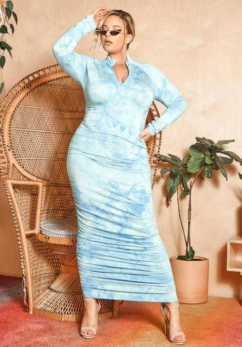 Asoph Plus Size Blue Sky Tie Dye Ruched Bodycon Maxi Dress