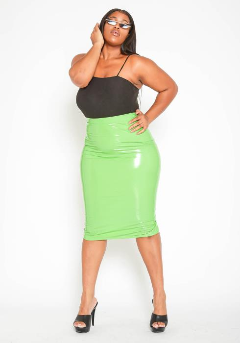 Asoph Plus Size High Waisted Green PU Leather Midi Skirt