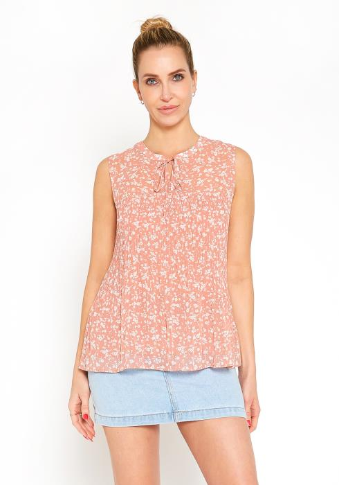 Tansy Floral Sleeveless Tie Neck Blouse Top