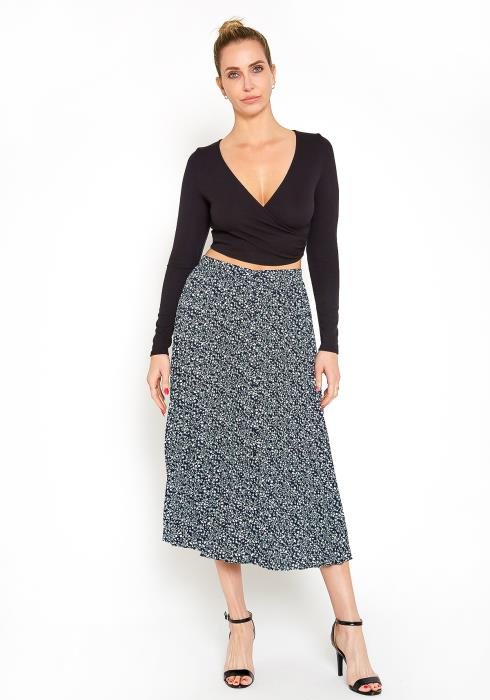 Pleione Ditsy Floral Pleated Midi Skirt