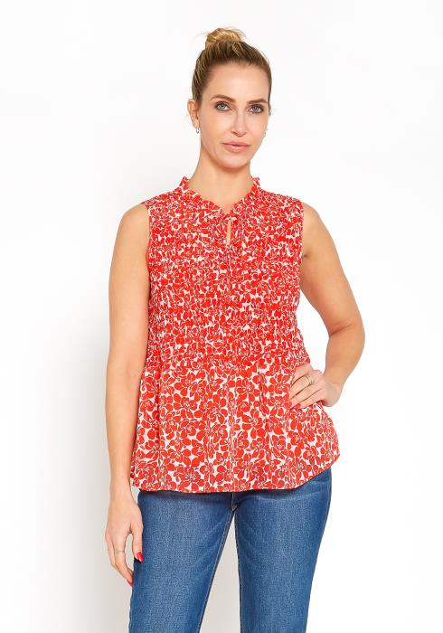 Pleione Sleeveless Floral Smocked Blouse Top