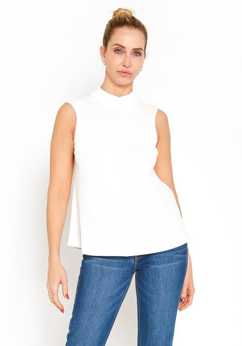 Pleione Womens Smocked Sleeveless Top