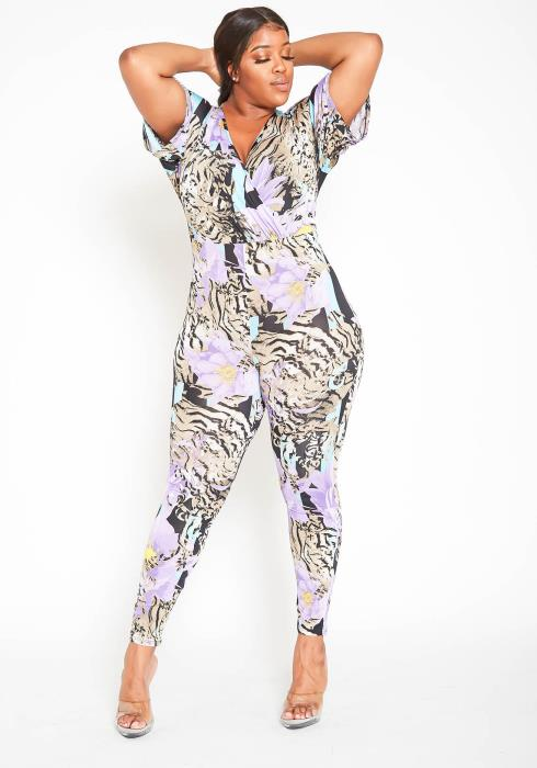Asoph Plus Size Purple Flower Mixed Print Fitted Jumpsuit