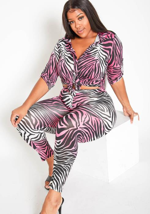 Asoph Plus Size Womens Hot Pink Animal Print Set