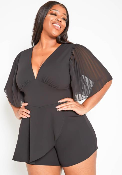 Asoph Plus Size Pleated Angel Sleeve Elegant Black Romper
