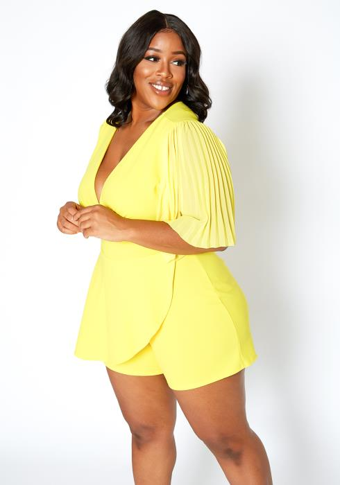 Asoph Plus Size Pleated Angel Sleeve Elegant Romper