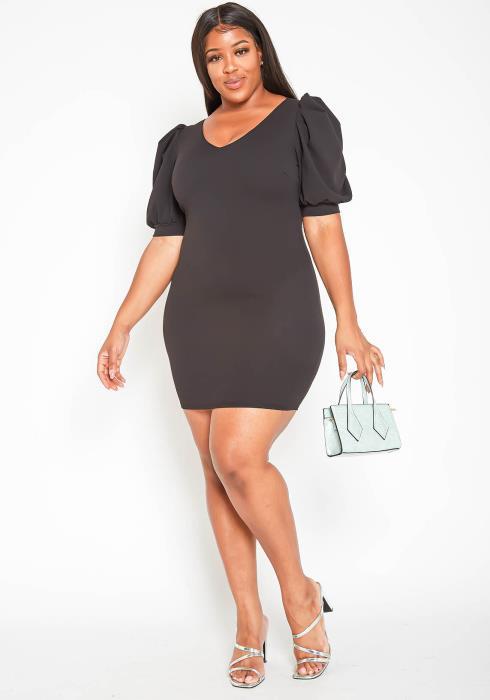 Asoph Plus Size Puff Shoulder Little Black Bodycon Dress